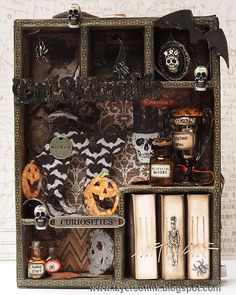Layers of ink - Spooky Book Cabinet Tutorial by Anna-Karin, with new embellishments, stamps, papers and dies by Tim Holtz (Sizzix, Stamper's Anonymous, idea-ology).