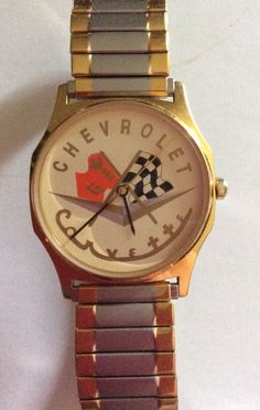 Vtg Chevrolet Corvette Mens Wrist Watch Crossed Flags Gold Silver Tone