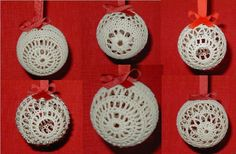 Crochet Christmas Ornament Pattern, Set of 6