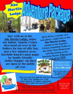 Abe Martin Lodge Adventure Package - Holler Hoppin at Rawhide Ranch - Meals in the Little Gem Restaurant - #browncounty #zipline #adventure #statepark #abemartinlodge