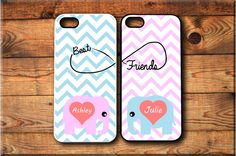 iPhone 4 iPhone 4S 2 Cases Personalized Cute Elephants Best friends Forever BFF Infinity Protective Case FREE Screen Protector Included