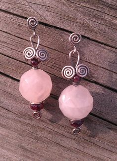 All Hand-Made Wire Wrapped Scroll Stud/Post Earrings in Sterling Silver, Rose Quartz and Garnet