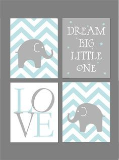 Pale blue or pink and grey with chevron and  elephants