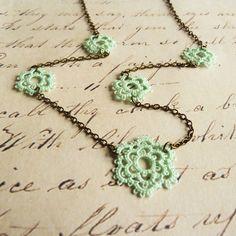 Retro mint green lace necklace