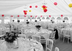 Colourful pom pom's for internal marquee decor