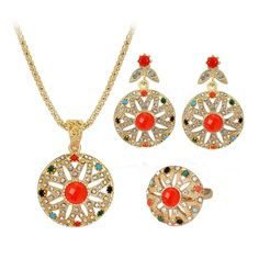 New Women Necklace Earring Ring Set Metal Jewelry Bib Pendant Chain Necklace Set