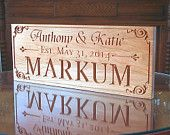 Marriage Sign: Anniversary Custom Engraved Wooden Sign Established Date  Name Sign Custom Signs Personalized Cherry AA