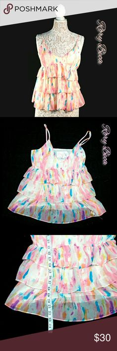 RORY BECA PASTEL COLORS LAYERED TOP RORY BECA PASTEL COLORS LAYERED TOP                                                                                                                                                                            Sz  SP         Shell & Lining 100% Polester        See Description on Last Photo                Colors May Not be Exact Due to Lighting      Measurements are APPROXIMATE Rory Beca Tops Camisoles