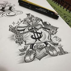 Card Tattoo Designs, Tattoo Design Drawings, Tattoo Sleeve Designs, Tattoo Sketches, Chicano Art Tattoos, Chicano Drawings, Gangsta Tattoos, Crow Tattoos, Phoenix Tattoos