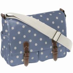 Cath Kidston messenger bag, blue with white polka dots