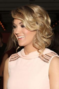 Carrie Underwood's curly updo is great for a shoulder-length cut. Hair envy!
