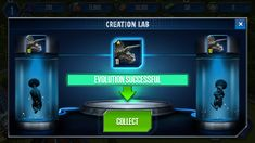 Jurassic world mobile game UI interface buttons
