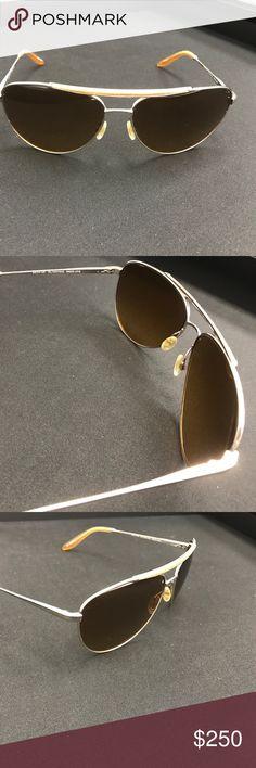 Barton Perreira Breed Love Sunglasses Gold aviator polarized Breed Love sunglasses with a brown snakeskin top bar. Transparent nose pads. Titanium. Made in Japan. Barton Perreira Accessories Sunglasses