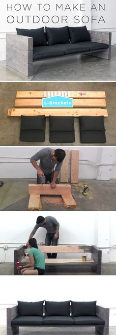 How To Make An Outdoor Sofa DIY Build! – crismary gil How To Make An Outdoor Sofa DIY Build! If you have an outdoor area and you're in a constant search of new outdoor projects every year, you may Balcony Furniture, Rustic Furniture, Garden Furniture, Sofa Furniture, Garden Sofa, Office Furniture, Furniture Ideas, Cheap Furniture, Diy Furniture Modern