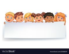 Cute kids holding blank white banner vector image on VectorStock Cartoon People, Cartoon Kids, Cartoon Template, Powerpoint Background Design, Animal Worksheets, Kids Background, School Frame, School Cartoon, Kids Labels