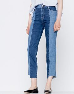 Two-tone slim fit jeans - Denim Collection - Trends - Woman - PULL&BEAR Ireland