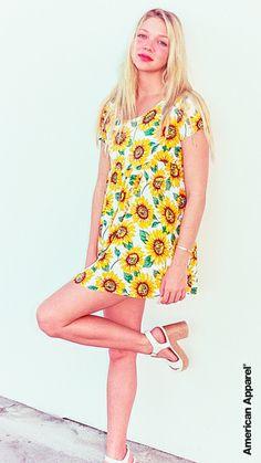 Jessie wears the Sunflower Print Babydoll Dress #AmericanApparel