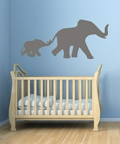 Take a look at this Slate Mom & Baby Elephant Wall Decal by DecorDesigns on #zulily today!