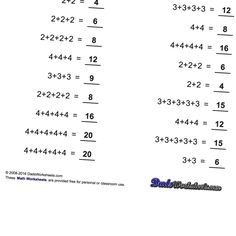 Addition worksheets that introduce multiples and skip-counting. These addition worksheets are an excellent stepping stone to multiplication.