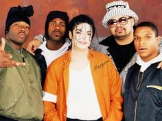 Michael Jackson and Heavy D withTreach, Kay Gee and Vinnie of Naughty By Nature on the set of Jam (1992) off of the Dangerous Album.