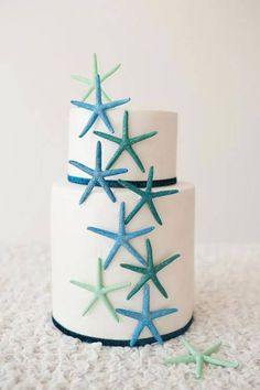 Mint Starfish Beach Wedding Cake