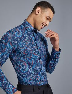 596a4e126bb82 Men s Curtis Blue  amp  Orange Paisley Slim Fit Shirt - Single Cuff Smart  Casual Shirts