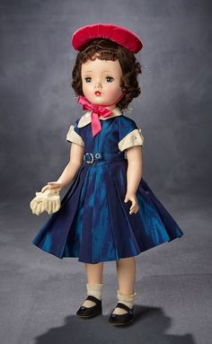"""Madame Alexander, The Rodney Waller Collection: Part Two: 37 """"Winsome Binnie Walker"""", Iridescent Navy Blue Dress, Fuchsia Puff Hat, Original Box 1954 Baby Doll Picture, Barbie Fashion Royalty, Vintage Madame Alexander Dolls, Old Dolls, Navy Blue Dresses, Vintage Dolls, American Girl, Baby Dolls, Doll Clothes"""