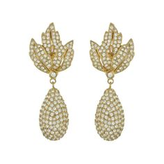 Ciner Gold Leaf Pave Crystal Drop Earrings from SOPHIESCLOSET.COM