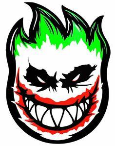 I like the color design of the picture Skateboard Logo, Skateboard Design, Spitfire Skate, Madara Wallpapers, Joker Logo, Joker Kunst, Graffiti Characters, Joker Art, Skate Art