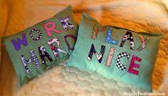 Work hard, play nice pillows by Maya Murillo