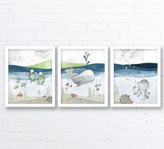 Tortuga y ballena vivero impresión náutica arte de pared de