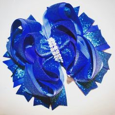 Blue glitter hair bow