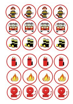 24 Mixed Fireman fire Engine Cartoon Mix Themed Cupcakes Edible Cake Toppers On Wafer Rice Paper Fireman Party, Firefighter Birthday, Fireman Sam, Cartoon Cupcakes, Jack O Lantern Faces, Edible Cake Toppers, Themed Cupcakes, Rice Paper, Fire Trucks
