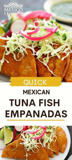 These Tuna Empanadas are made with Tuna, spices, tomatoes and masa harina. Easy to make and you can serve these as golden and crispy turnovers, as a meal or an appetizer. Serve topped with shredded lettuce or cabbage and a fresh homemade salsa. Real Mexican Food, Mexican Food Recipes, Shellfish Recipes, Seafood Recipes, One Pot Meals, Easy Meals, Easy Recipes, Homemade Salsa, Yummy Appetizers