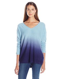 Napa Valley Womens Cashmerlon Long Sleeves Ombre Vneck Pullover Sweater Ice Blue Large -- Click image to review more details.