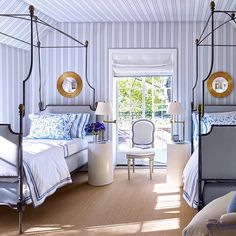 "The Pink Pagoda on Instagram: ""Blue and white bedrooms at TPP today inspired by this Bruce Budd space featured in the October 2015 @archdigest -- link's in the profile."""