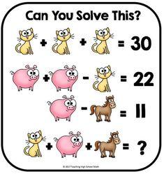 Algebra Critical Thinking Can You Solve This. by Teaching High School Math Math For Kids, Fun Math, Math Games, Brain Games, Thinking Skills, Critical Thinking, Math Logic Puzzles, Brain Teasers Riddles, Math Talk