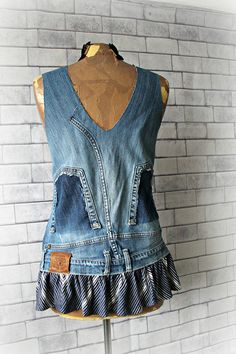 Unique Denim Top Boho Hippie Clothing Recycled Jeans Up Cycle