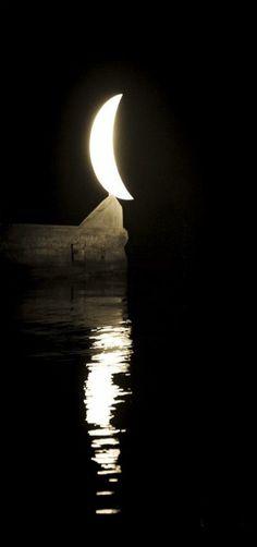 Near the moon, night, Salonika, Greece -- by Aleksander Hadji