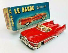 "Exc 1951 Buick Le Sabre Concept Friction Tin Car W/ Box By Yonezawa Japan 8"" NR   eBay Toyota Corona, Buick Lesabre, Ford Fairlane, Tin Toys, Rare Antique, Vintage Japanese, Vintage Toys, Convertible, Toys"