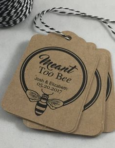 Meant to Bee, Honey Favor Tags, Personalized Tags, Wedding Favor Tags, Thank you Tags, Party Favor Tags, Customizable Tags, Set of 12