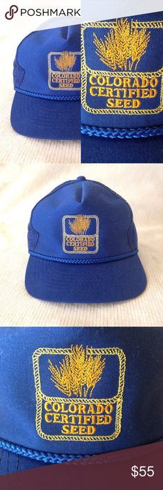VTGColorado Certified Seed Farmer Trucker Hat! True vintage. Super rad 70s/80s royal blue Colorado Certified Seed trucker hat! Adjustable back. In like new condition - no flaws to report. Offers welcome! tags: retro 80's 70's CO Cap Hat Vintage Accessories Hats