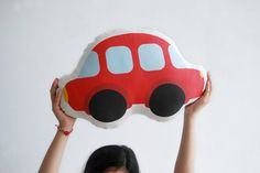Red happy car! Lovely stuffed toy. Great present for a baby, a child... or an adult :)! Beautiful children room deco. Vroom vroom... Size: approx. 42cm / 17 inches wide  All designs are created by Stella Chili. Printed on 100% cotton fabric, digitally, with fade resistant ink. Back of the pillow is color cotton blend fabric. Soft polyester filling.  All cushions are made and stuffed by hand, one by one. Care: Hand wash or machine wash gentle separately from other articles at 30 degrees…