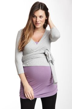 Cute maternity clothes: Momo Maternity Gwen Wrap Top on HauteLook