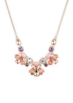 Nine West  Gold-tone and Coral Cluster Frontal Necklace