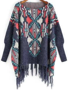 Multicolor Tribal Print Tassel Cardigan 32.79