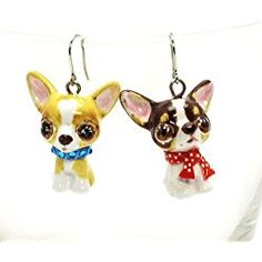 Chihuahua Dog Lover Earrings 00020 Ceramic Pet Accessories Jewelry Handmade Art Crafts