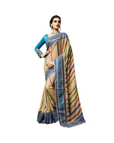Beige Resham Embroidery Saree To know more or buy, please click Below:- http://www.ethnicstation.com/beige-resham-embroidery-saree-vl1771   #OnlineShopping