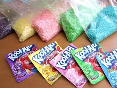 Kool-Aid Dyed Rice. use as vase filler