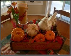 My favorite chickens, real pumpkins and ceramic pumpkins all in my vintage Coca Cola crate.